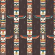Lewis & Irene Big Bear Little Bear - 4141 - Bear and Friends Totem on Chocolate - A105.3 - Cotton Fabric